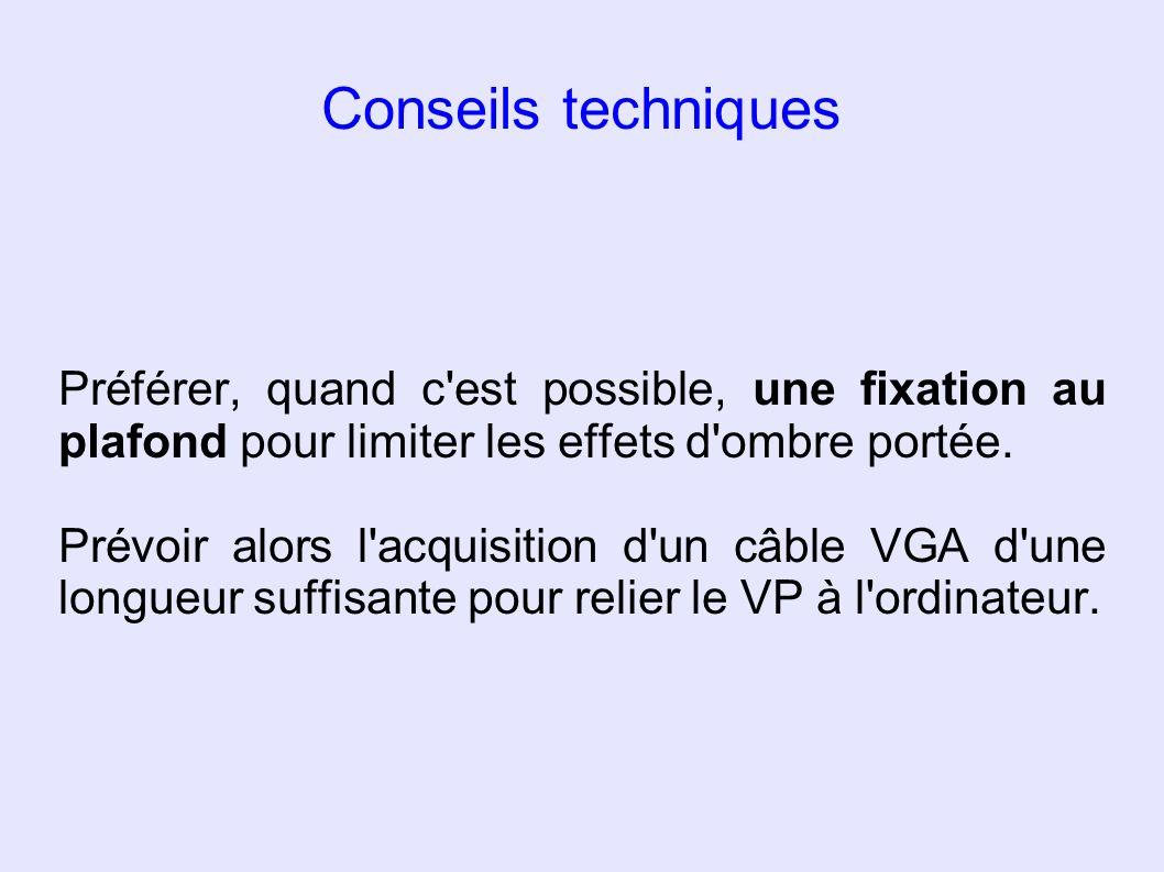 Conseils techniques Préférer, quand c est possible, une fixation au plafond pour limiter les effets d ombre portée.