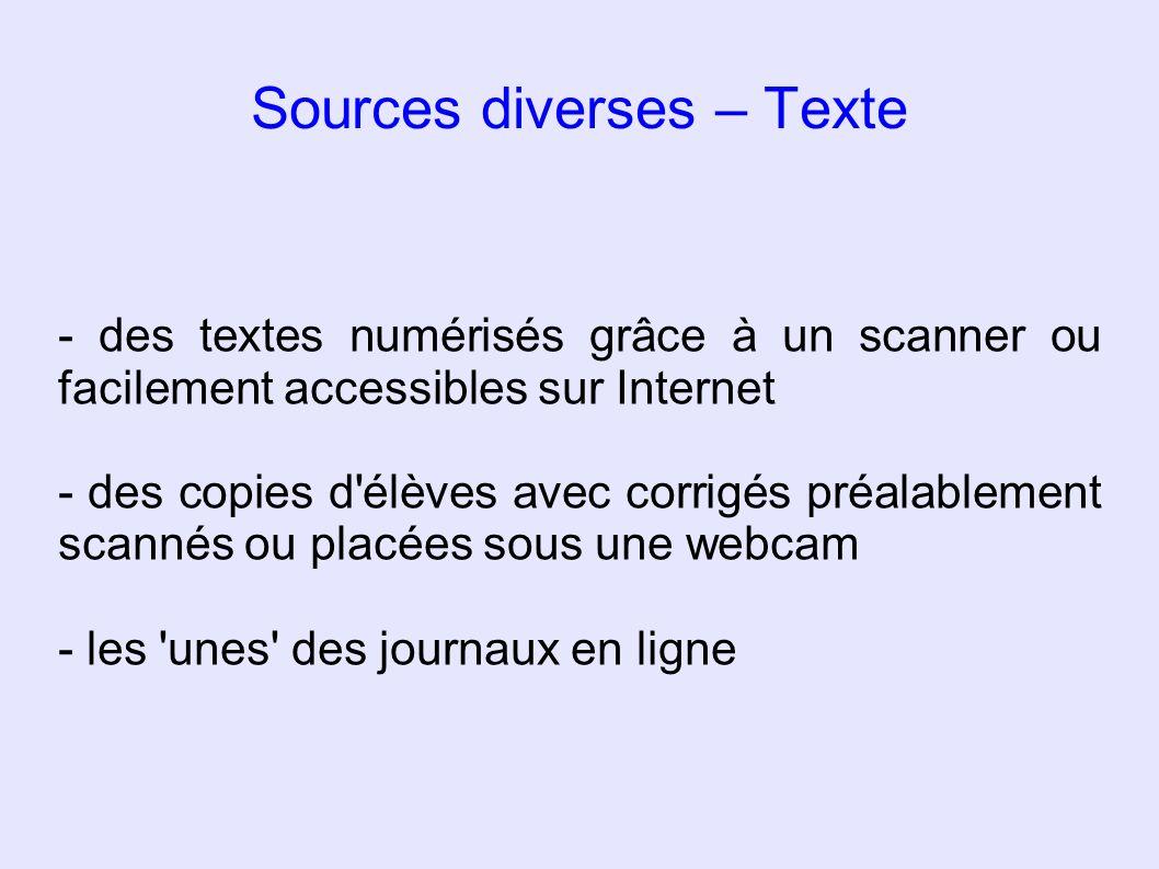 Sources diverses – Texte