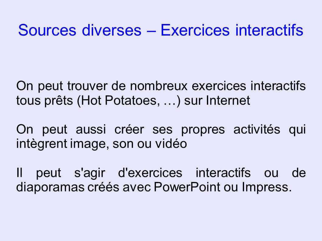 Sources diverses – Exercices interactifs