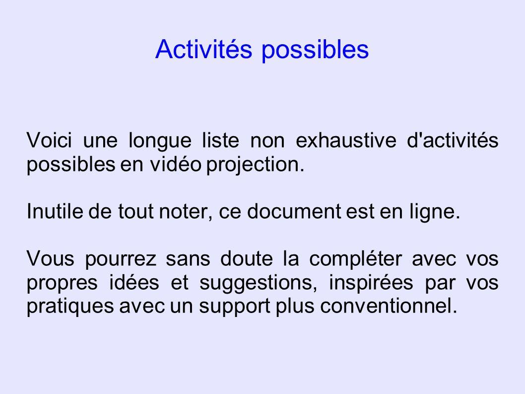 Activités possibles Voici une longue liste non exhaustive d activités possibles en vidéo projection.