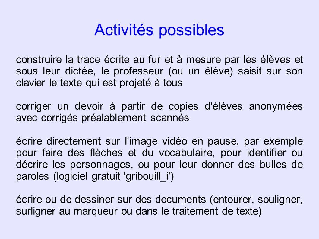 Activités possibles