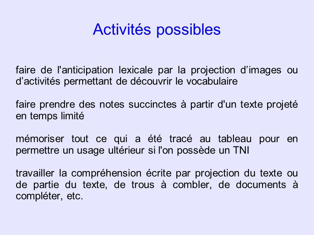 Activités possibles faire de l anticipation lexicale par la projection d'images ou d'activités permettant de découvrir le vocabulaire.