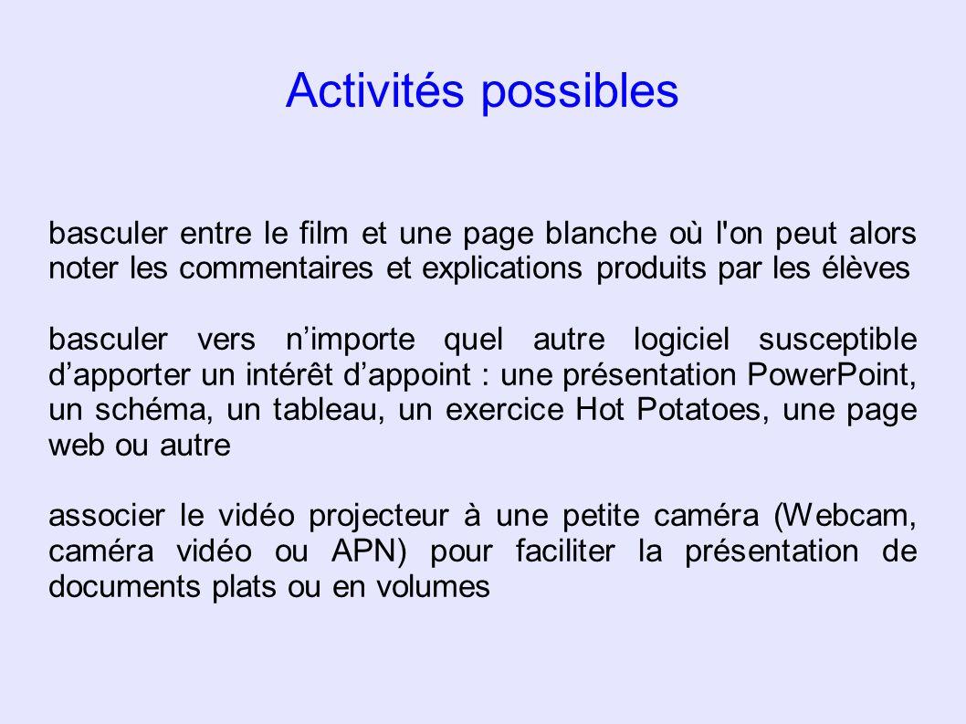 Activités possibles basculer entre le film et une page blanche où l on peut alors noter les commentaires et explications produits par les élèves.