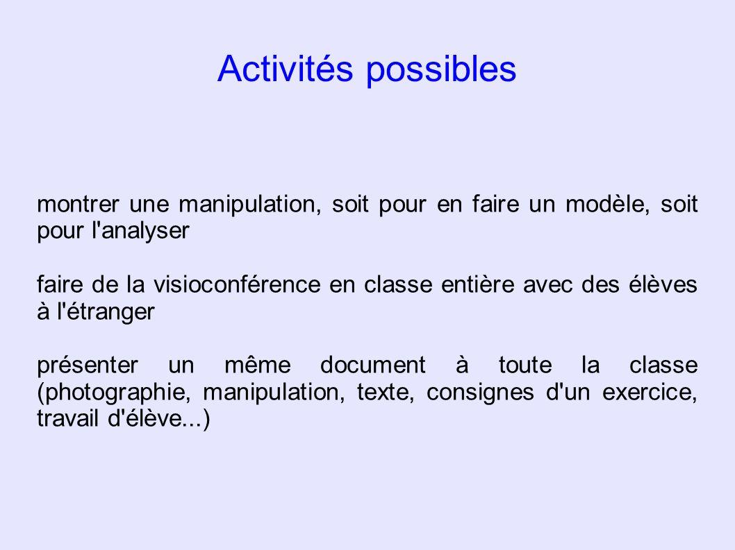 Activités possibles montrer une manipulation, soit pour en faire un modèle, soit pour l analyser.