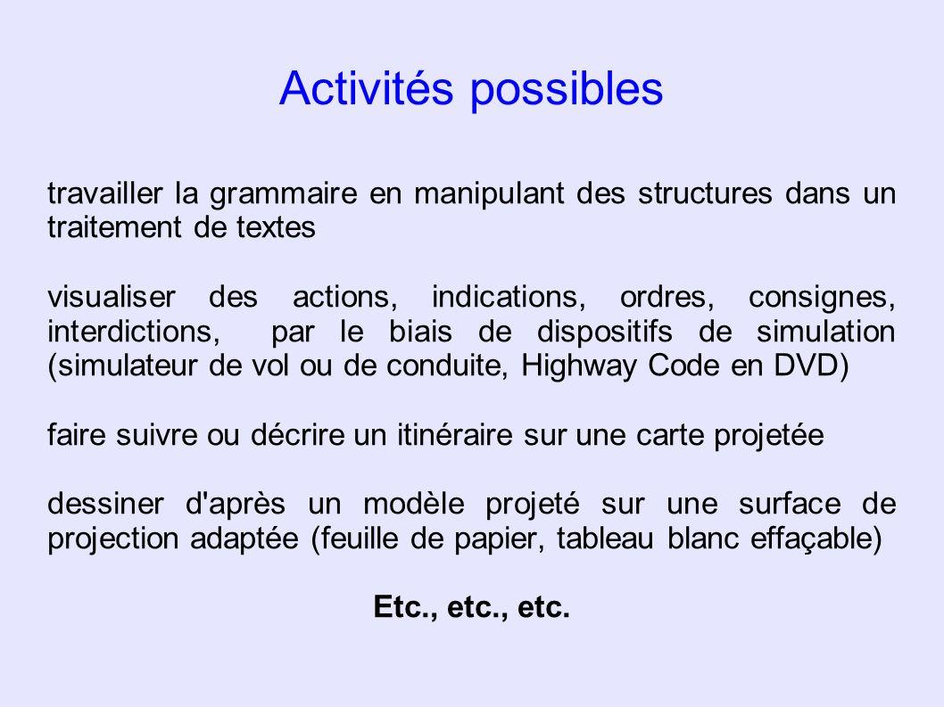 Activités possibles travailler la grammaire en manipulant des structures dans un traitement de textes.