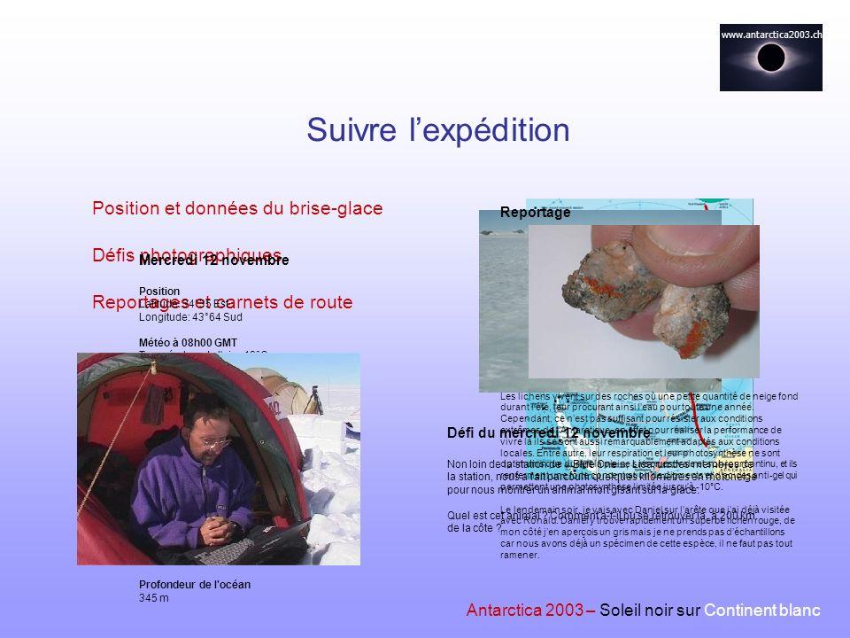 Suivre l'expédition Position et données du brise-glace