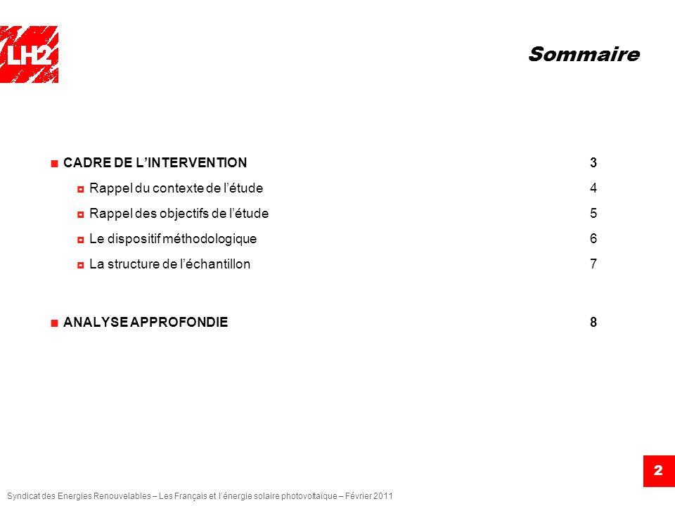 Sommaire CADRE DE L'INTERVENTION 3 Rappel du contexte de l'étude 4