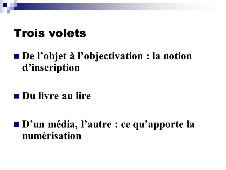 Trois volets De l'objet à l'objectivation : la notion d'inscription
