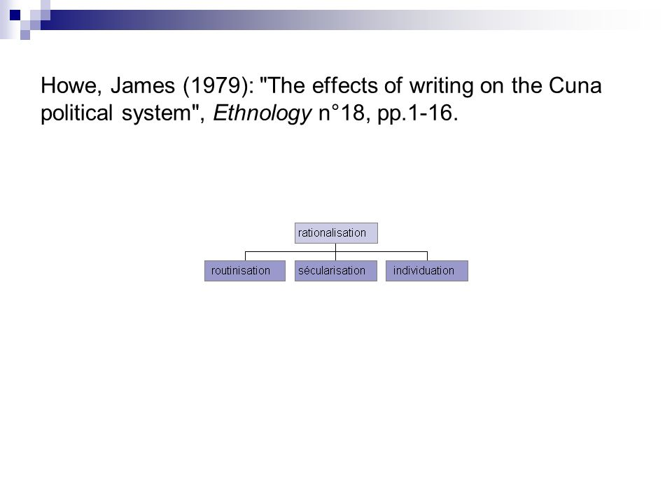 Howe, James (1979): The effects of writing on the Cuna political system , Ethnology n°18, pp.1-16.