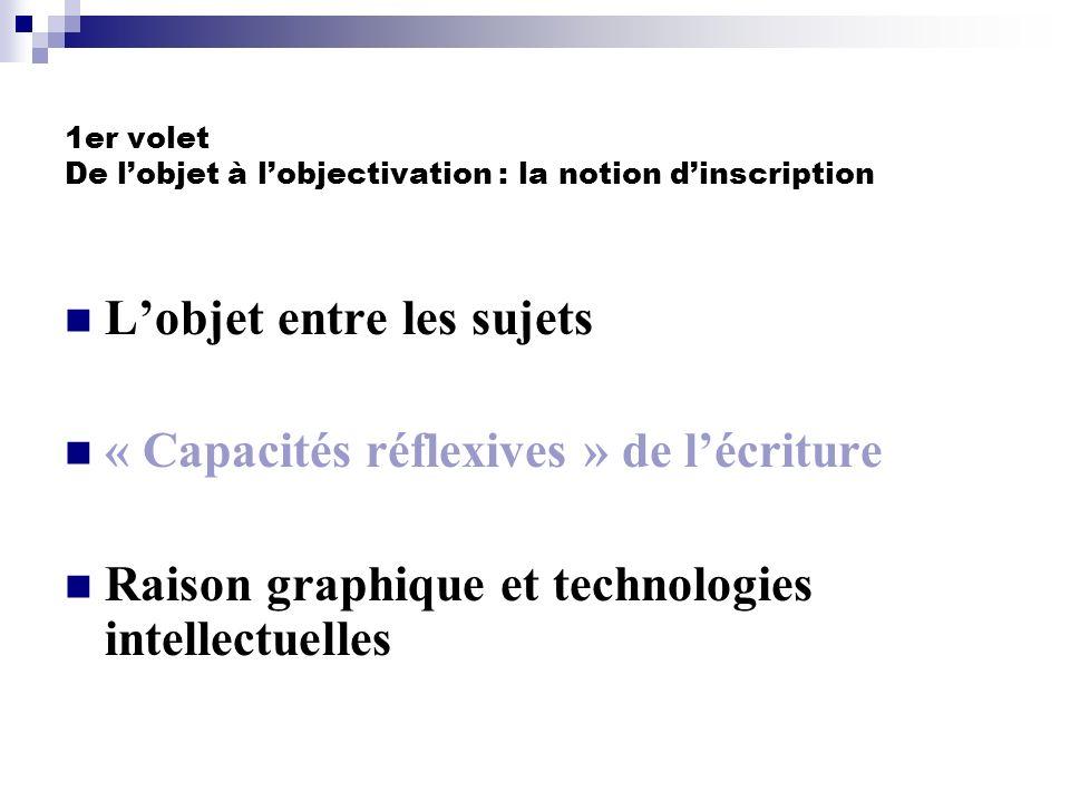 1er volet De l'objet à l'objectivation : la notion d'inscription