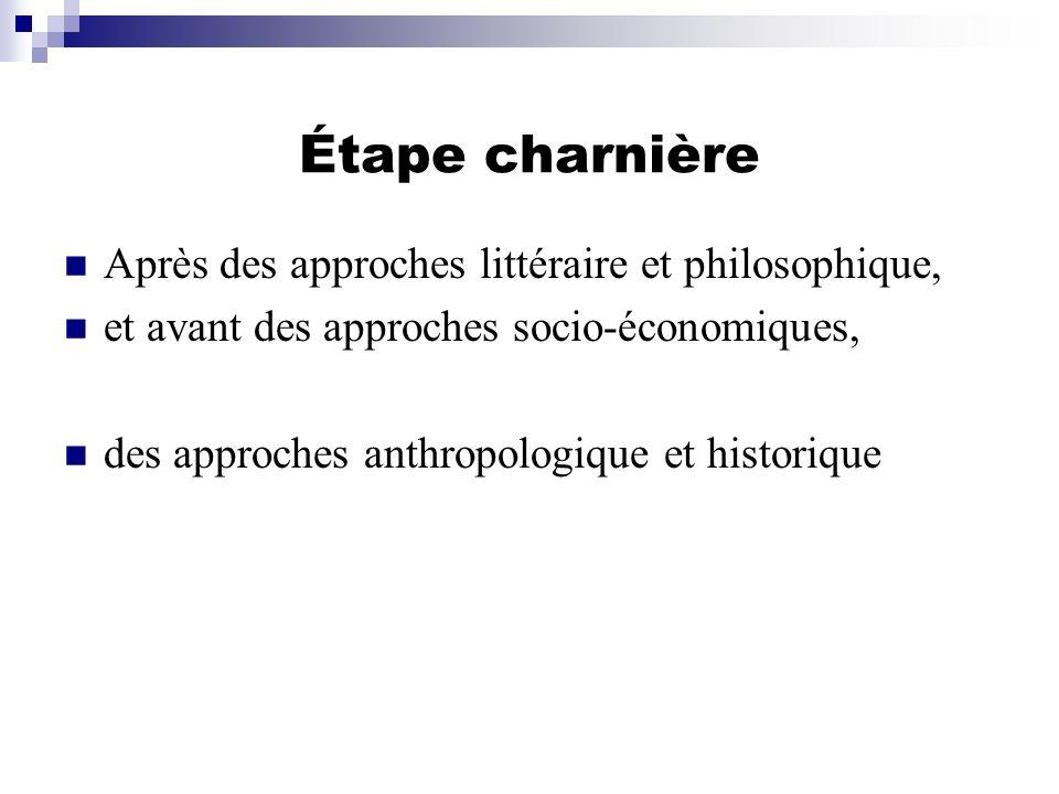 Étape charnière Après des approches littéraire et philosophique,