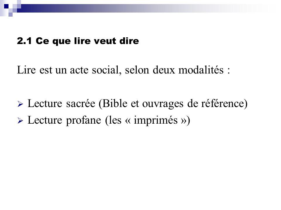 Lire est un acte social, selon deux modalités :