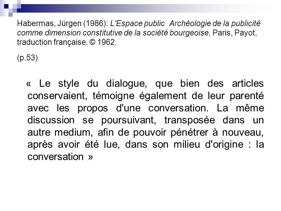 Habermas, Jürgen (1986): L Espace public Archéologie de la publicité comme dimension constitutive de la société bourgeoise, Paris, Payot, traduction française. © 1962. (p.53)