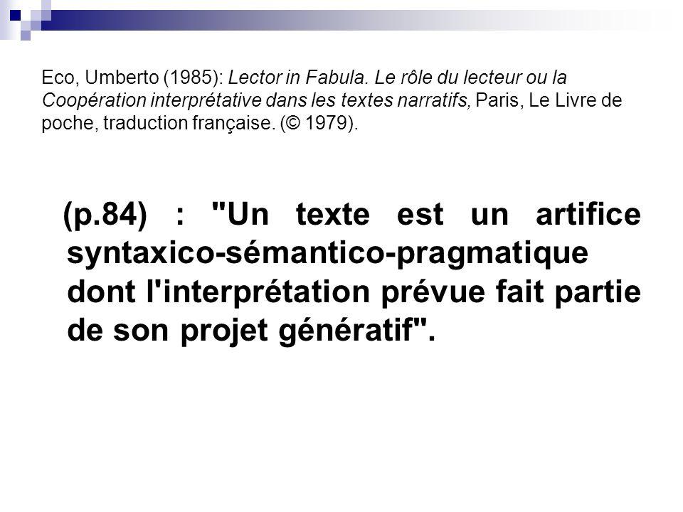 Eco, Umberto (1985): Lector in Fabula