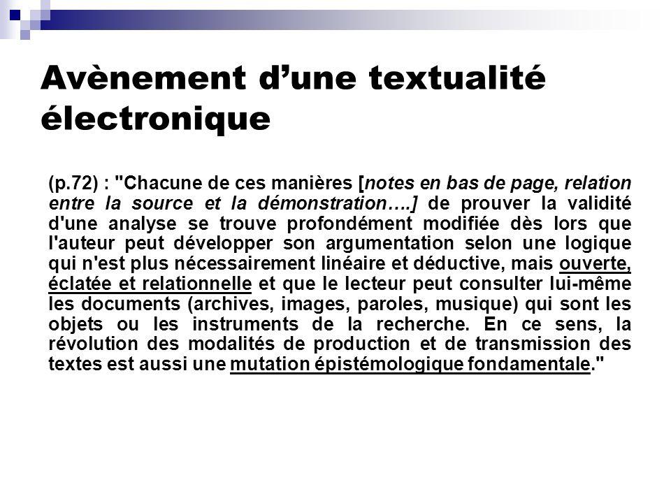 Avènement d'une textualité électronique