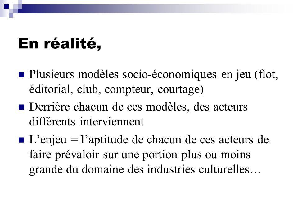 En réalité, Plusieurs modèles socio-économiques en jeu (flot, éditorial, club, compteur, courtage)