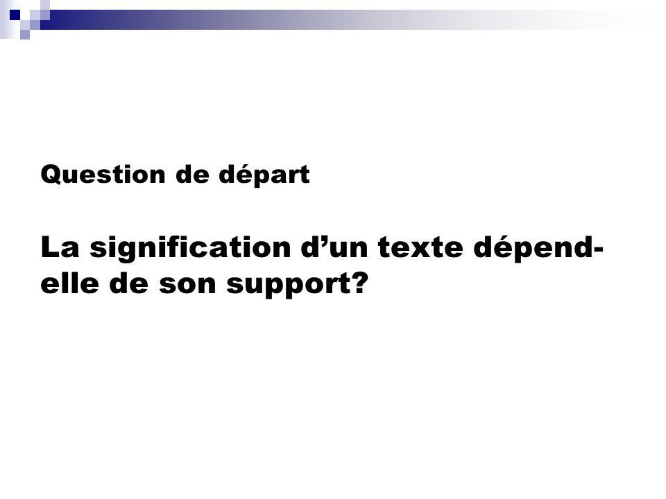 Question de départ La signification d'un texte dépend-elle de son support
