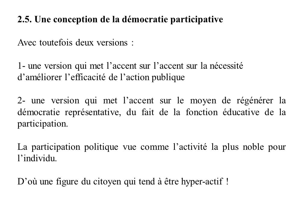 2.5. Une conception de la démocratie participative