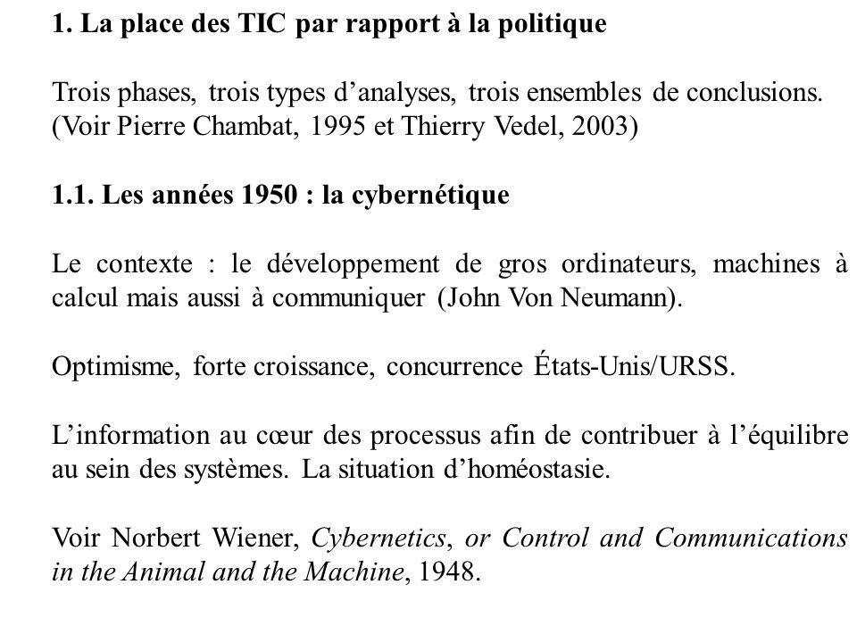1. La place des TIC par rapport à la politique