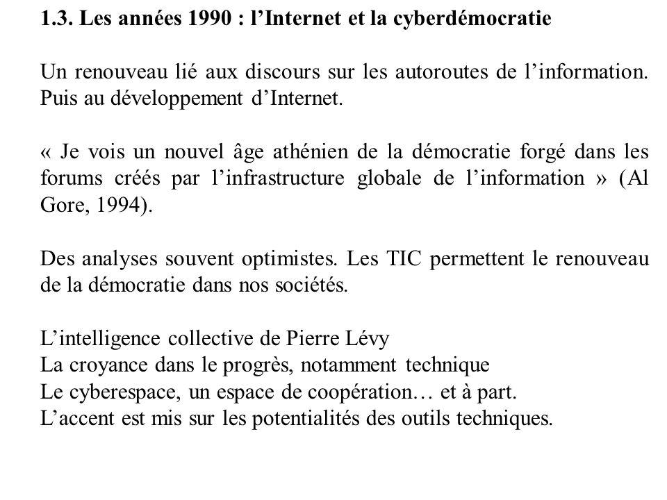 1.3. Les années 1990 : l'Internet et la cyberdémocratie