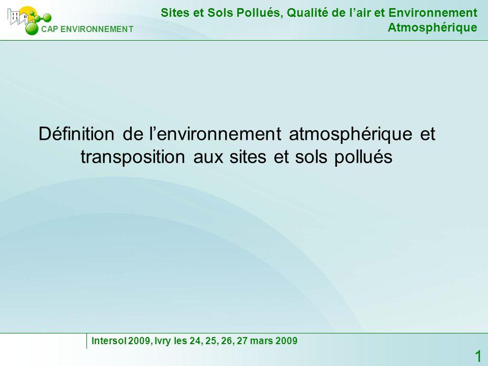 Définition de l'environnement atmosphérique et transposition aux sites et sols pollués