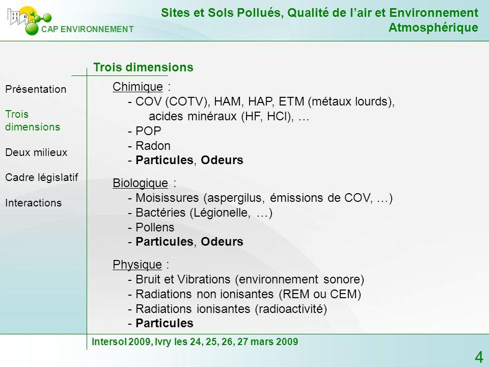 - COV (COTV), HAM, HAP, ETM (métaux lourds),