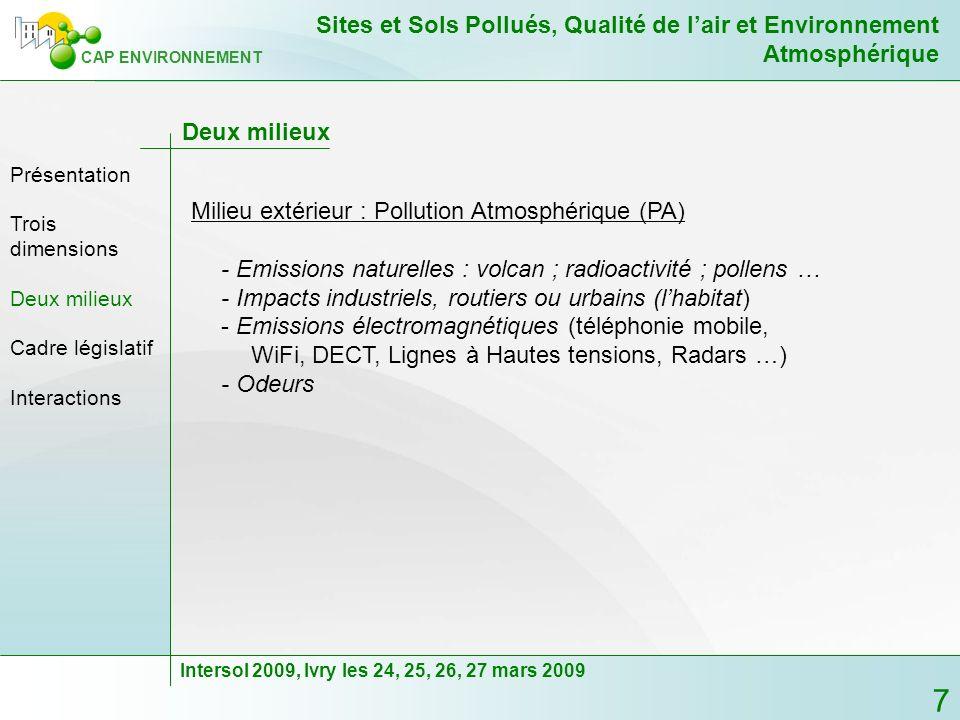 Milieu extérieur : Pollution Atmosphérique (PA)