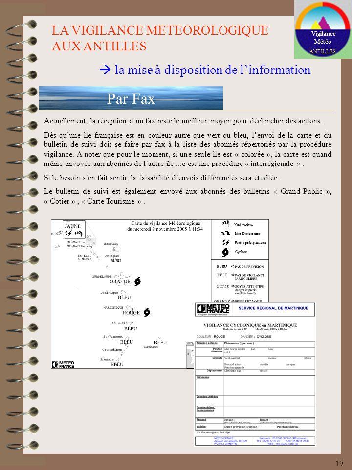 Par Fax LA VIGILANCE METEOROLOGIQUE AUX ANTILLES