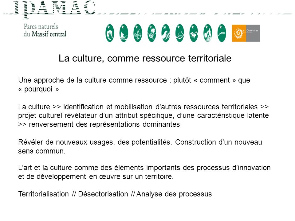 La culture, comme ressource territoriale