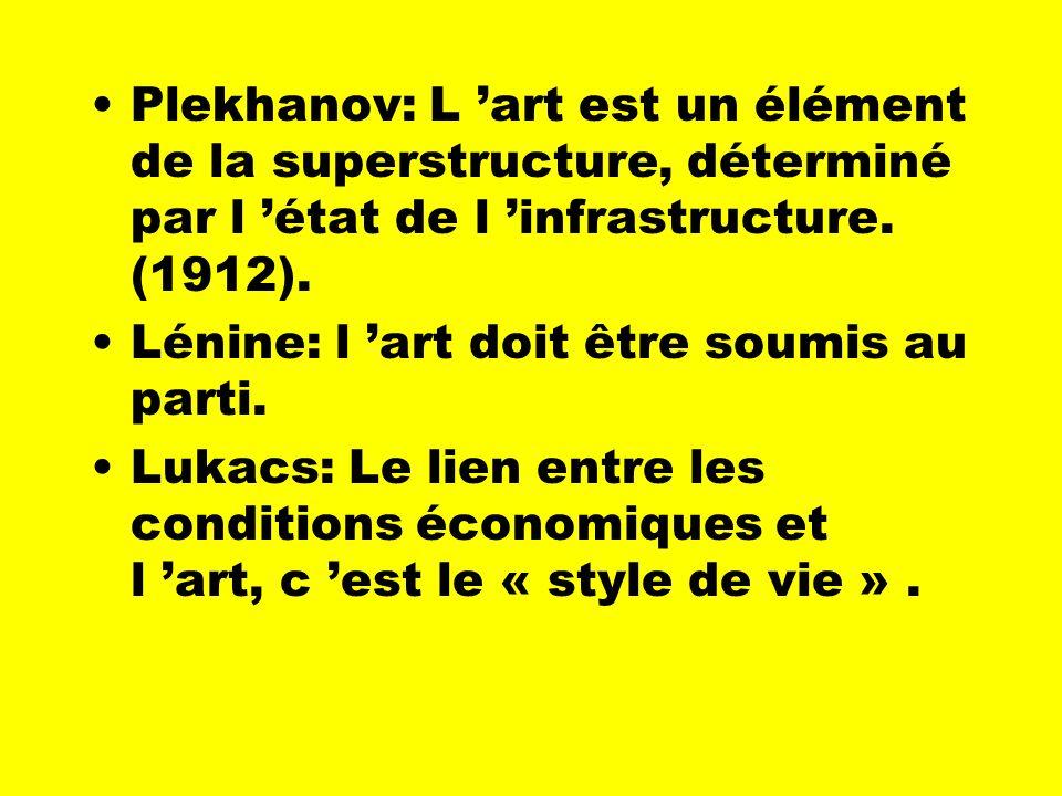 Plekhanov: L 'art est un élément de la superstructure, déterminé par l 'état de l 'infrastructure. (1912).