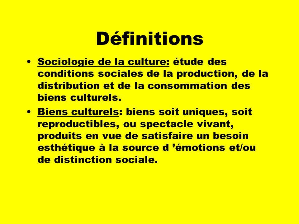 Définitions Sociologie de la culture: étude des conditions sociales de la production, de la distribution et de la consommation des biens culturels.