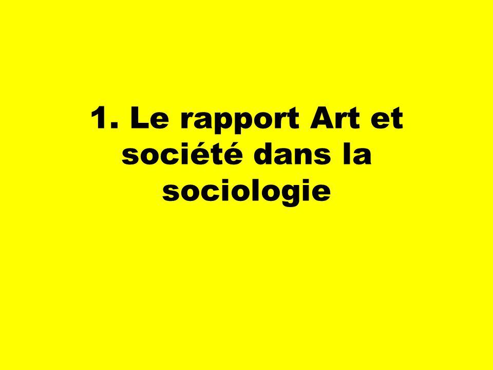 1. Le rapport Art et société dans la sociologie