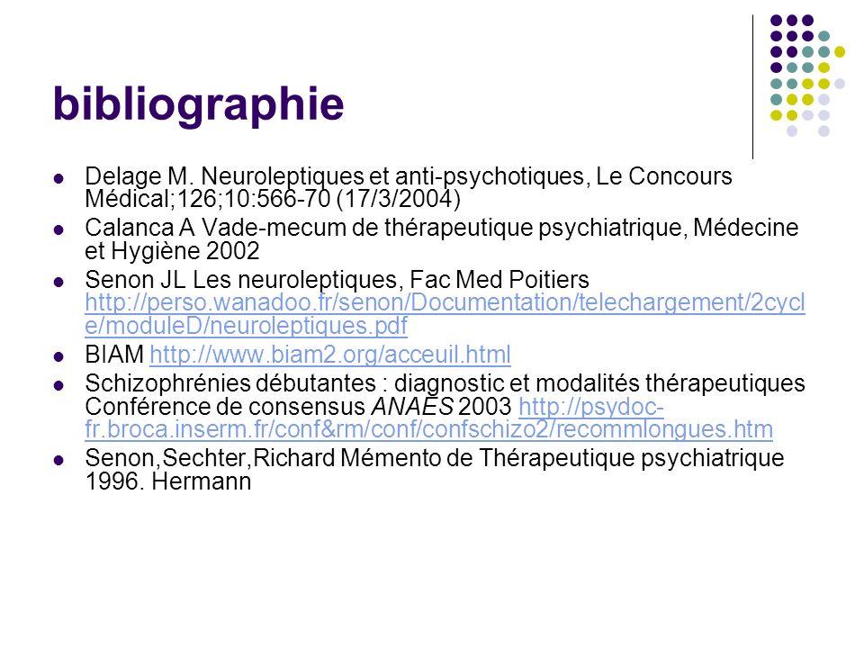 bibliographie Delage M. Neuroleptiques et anti-psychotiques, Le Concours Médical;126;10:566-70 (17/3/2004)