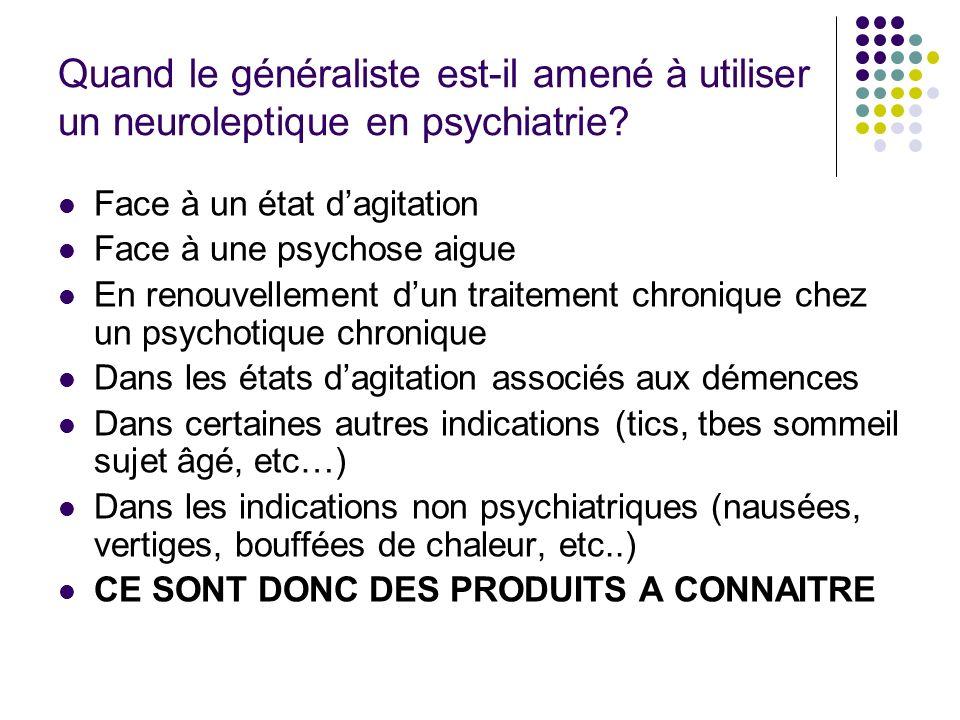 Quand le généraliste est-il amené à utiliser un neuroleptique en psychiatrie