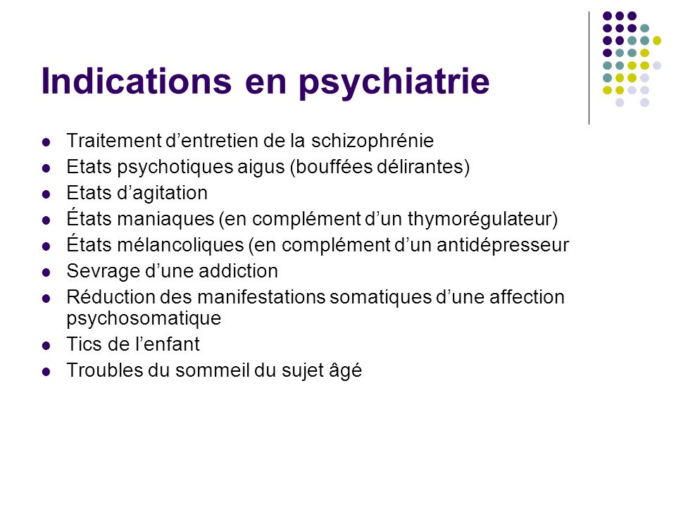 Indications en psychiatrie