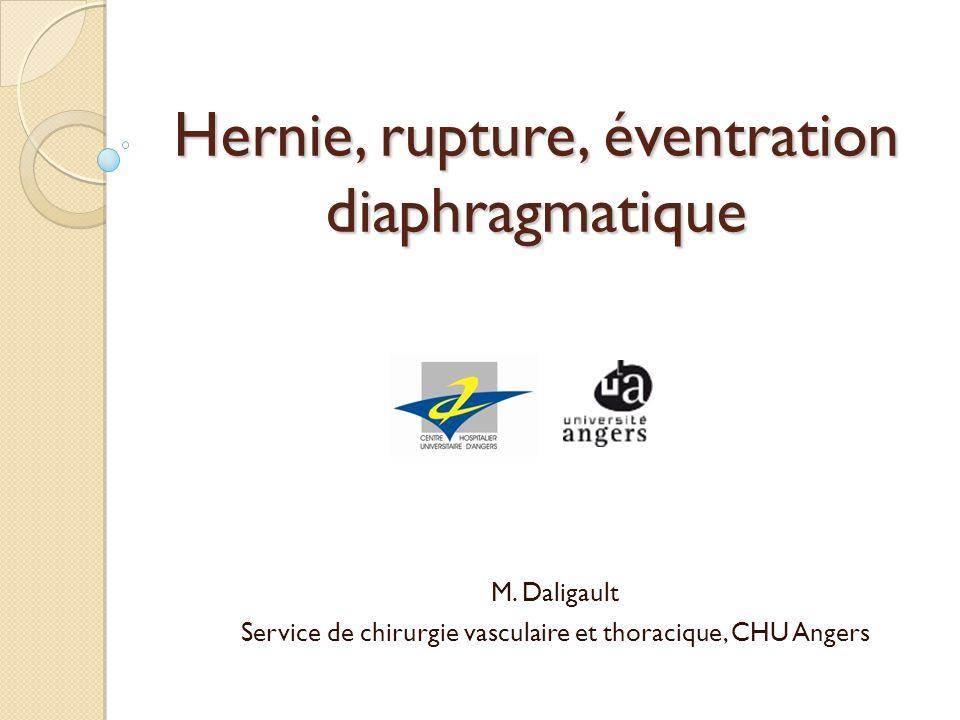 Hernie, rupture, éventration diaphragmatique