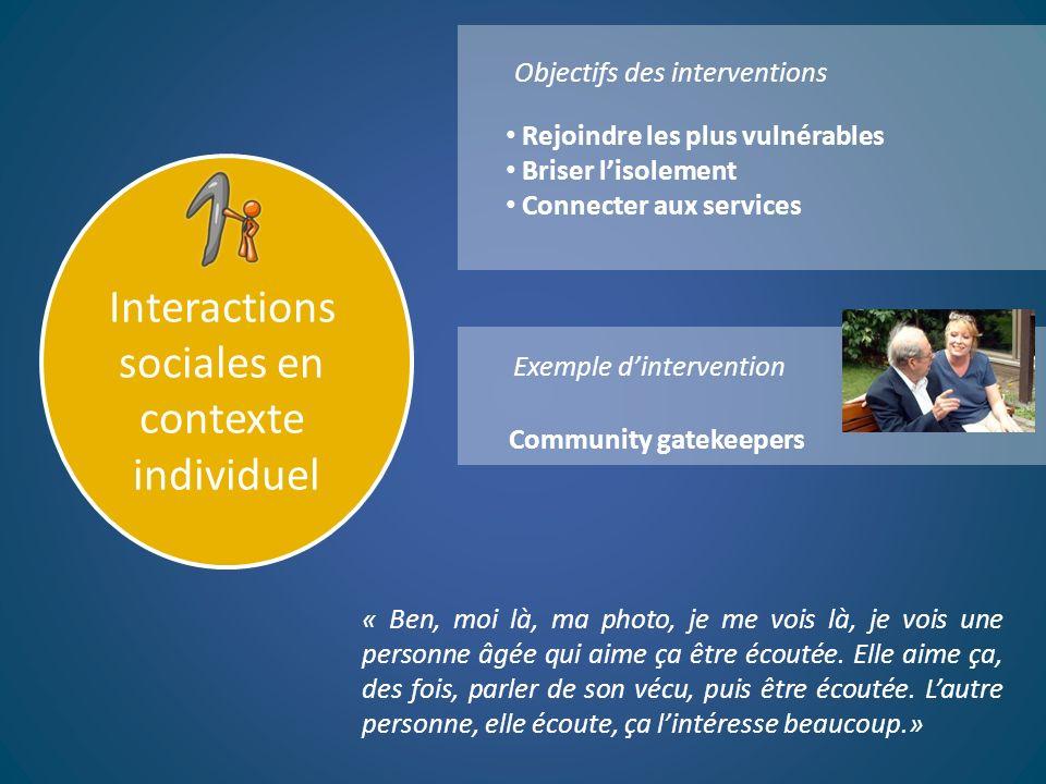 Interactions sociales en contexte individuel