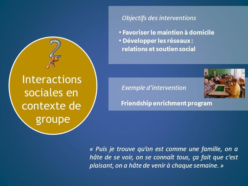 Interactions sociales en contexte de groupe