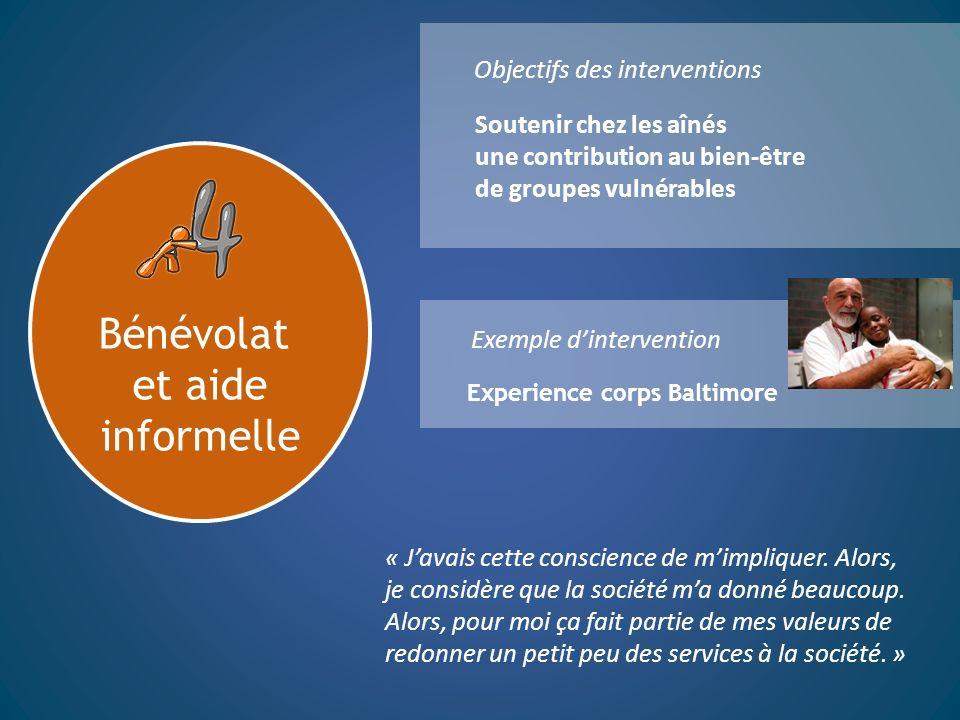 Bénévolat et aide informelle Objectifs des interventions