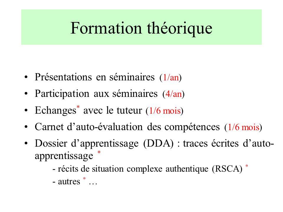 Formation théorique Présentations en séminaires (1/an)
