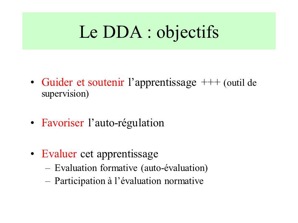 Le DDA : objectifs Guider et soutenir l'apprentissage +++ (outil de supervision) Favoriser l'auto-régulation.