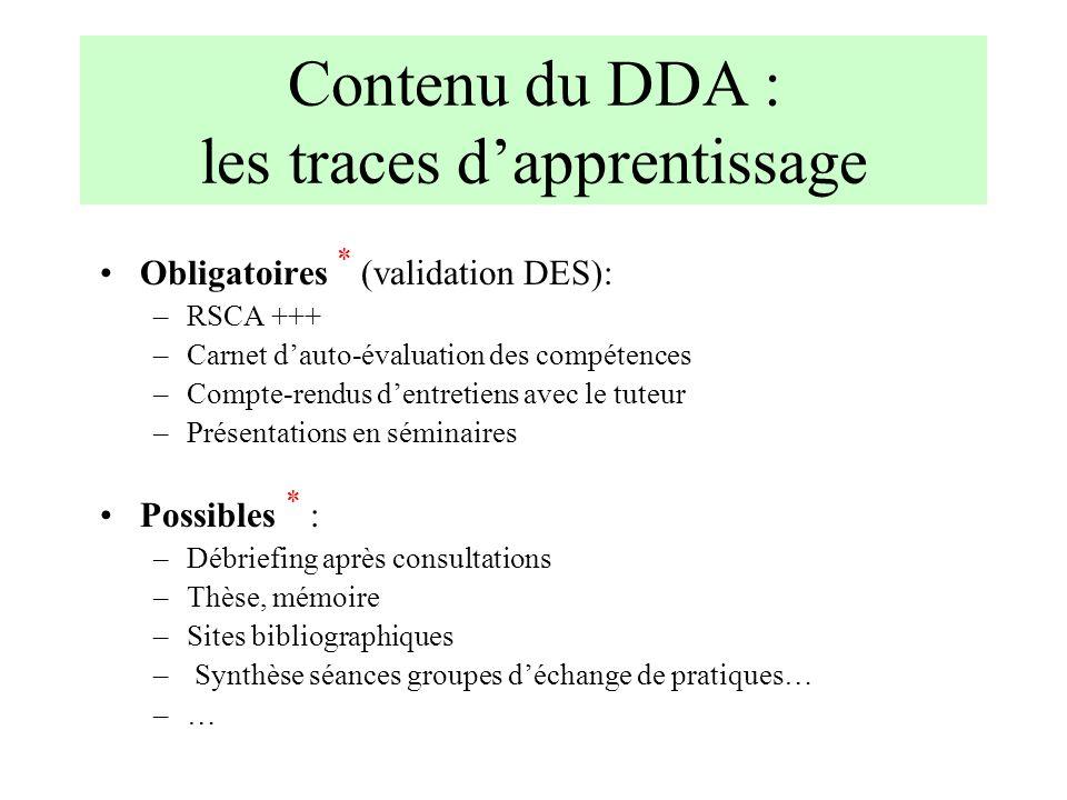 Contenu du DDA : les traces d'apprentissage