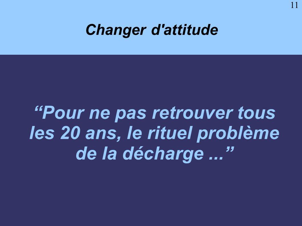 Changer d attitude Pour ne pas retrouver tous les 20 ans, le rituel problème de la décharge ...