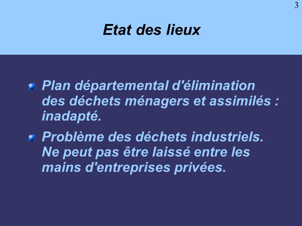 Etat des lieuxPlan départemental d élimination des déchets ménagers et assimilés : inadapté.