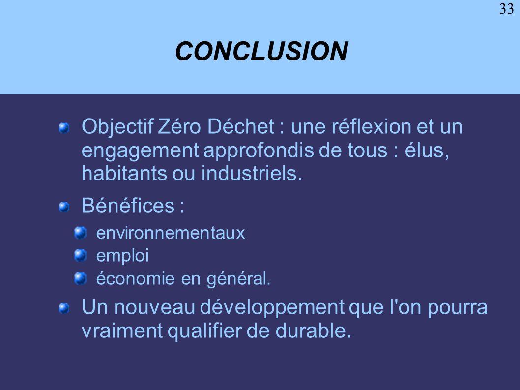CONCLUSION Objectif Zéro Déchet : une réflexion et un engagement approfondis de tous : élus, habitants ou industriels.