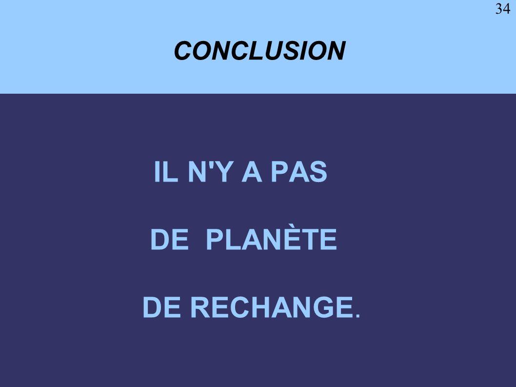 CONCLUSION IL N Y A PAS DE PLANÈTE DE RECHANGE.