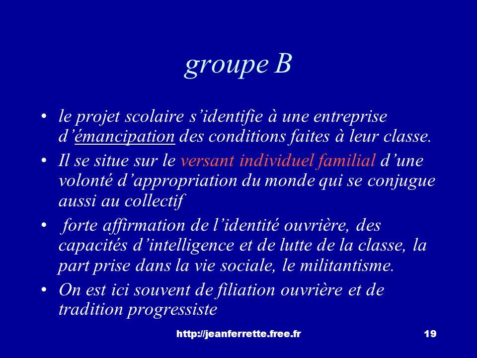 groupe B le projet scolaire s'identifie à une entreprise d'émancipation des conditions faites à leur classe.