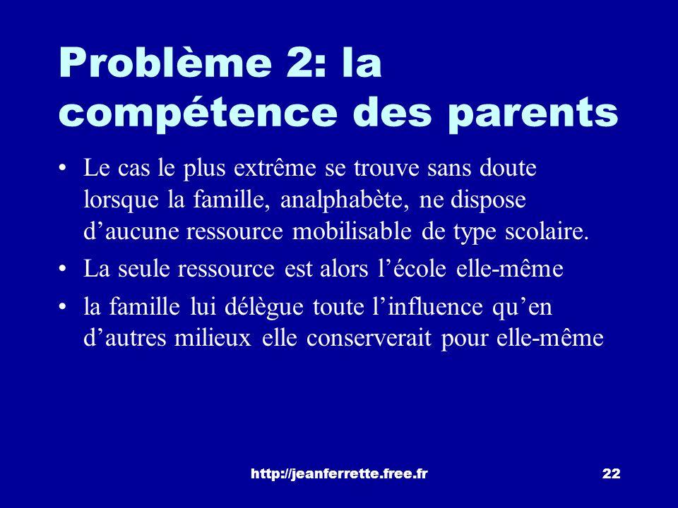 Problème 2: la compétence des parents