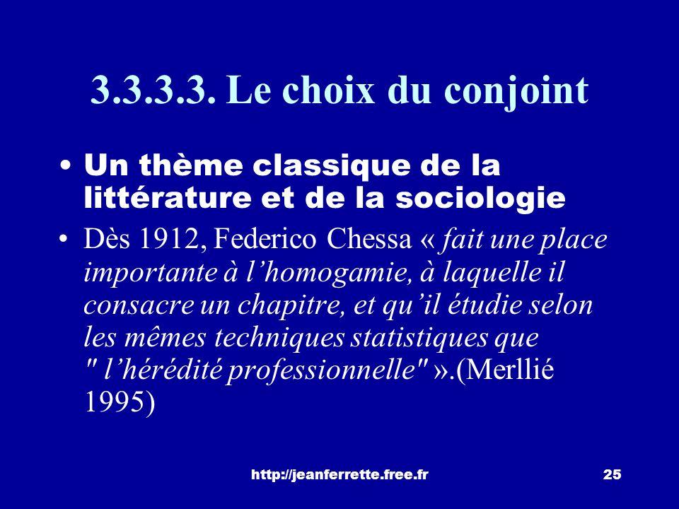 3.3.3.3. Le choix du conjoint Un thème classique de la littérature et de la sociologie.