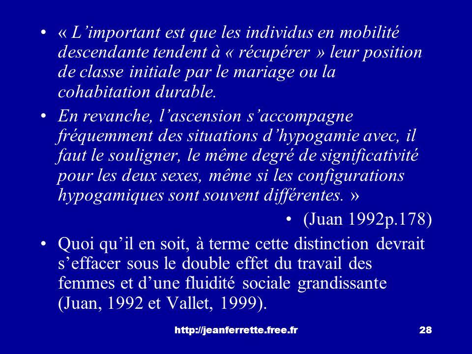 « L'important est que les individus en mobilité descendante tendent à « récupérer » leur position de classe initiale par le mariage ou la cohabitation durable.